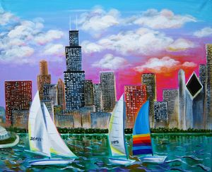 Magnificent Chicago Skyline - Caribe Art