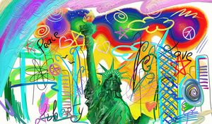 Statue of Liberty, Peace and Love