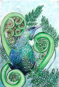 Tui amongst the ferns