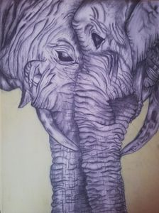 A Mother elephant and daughter bond - Meridith,'s art