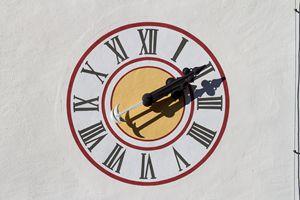 Old chapel wall clocks, Austria.