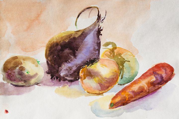 Watercolor vegetables - Nataliia Belozerova