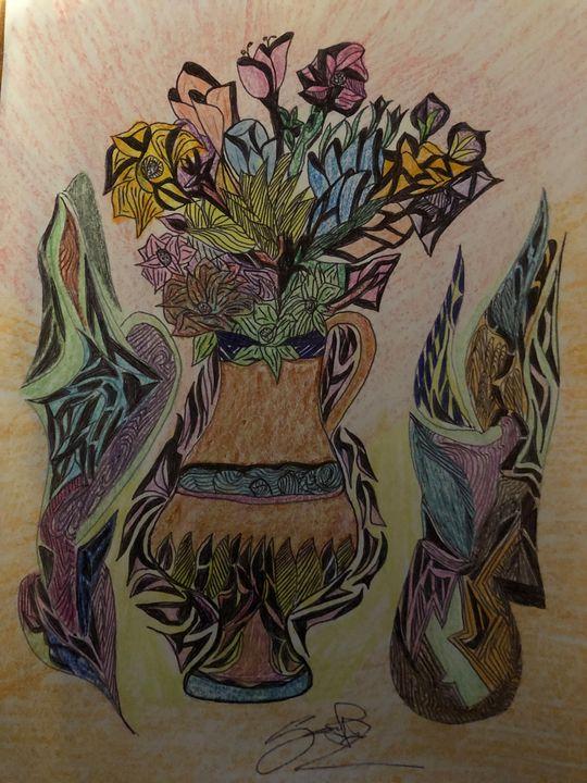 Art-flowerjar - Drawing artist- print