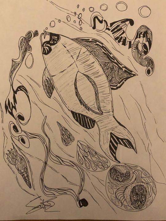 Art/sea life - Drawing artist- print