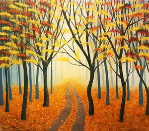 Misty autumn forest!