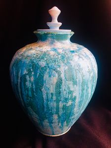 Porcelain Hand Thrown Pot in Raku - www.derryllb.com