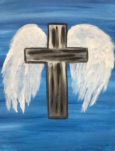 Metal Cross Angel Wings