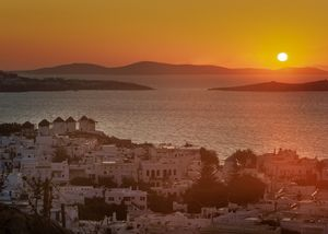 Beautiful sunset at Mykonos , Greece