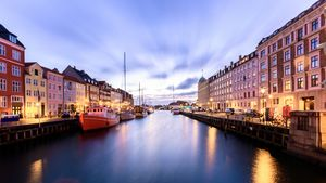 Nyhavn christmas market during night