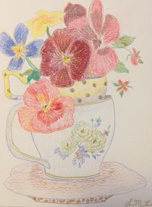 Garden flowers in teacups