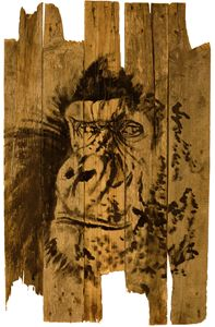 gorilla on wood