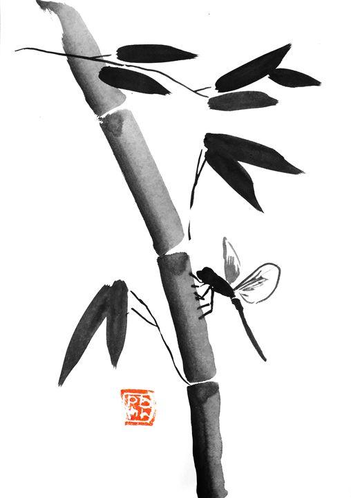 dragon fly and bamboo - pechanesumie