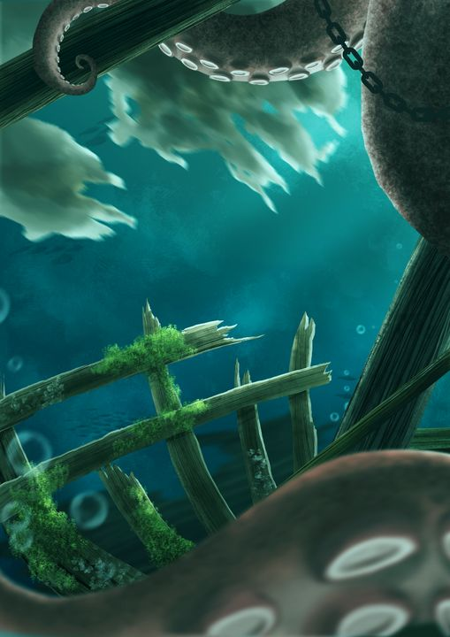 Giant Octopus Hiding in Shipwreck 2 - Roschea's Gallery