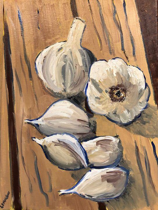 Nature Morte, Garlic on Pallet - Jeff Lemma