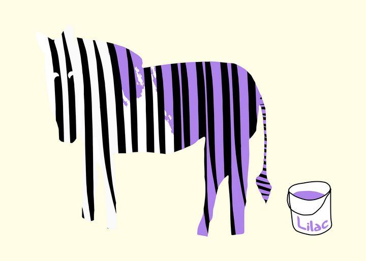Lilac painted Zebra - Natalia Stahl