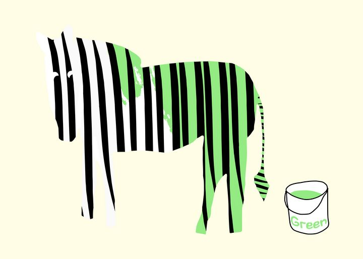 Green painted Zebra - Natalia Stahl