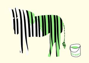 Green painted Zebra