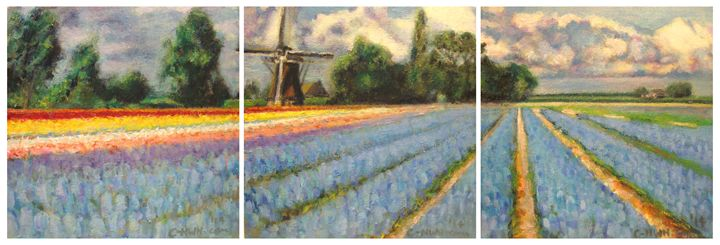 Spring Flowers Fields Triptych - C-Nwh Paintings