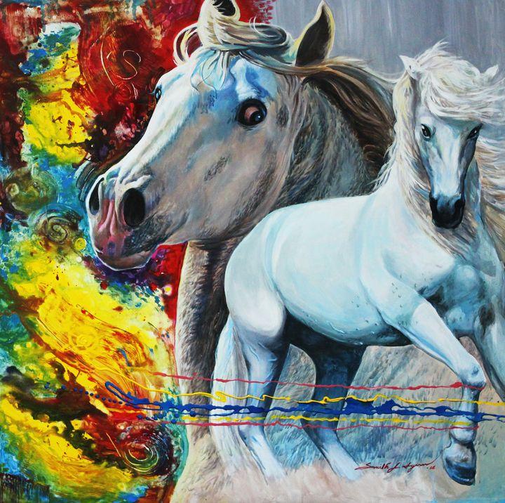 Two White Horses - Top Art Studio