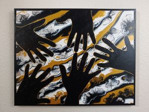 Reaching Hands Acrylic Painting