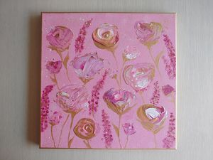 Gold and Pink Roses Acrylic Painting