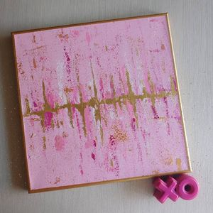 Pink and Gold Acrylic Painting