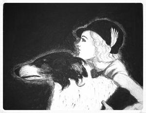 Woman and Borzoi art print