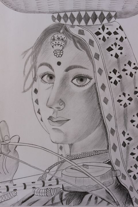 Indian Village Woman Purvi S Pencil Sketchs Paintings
