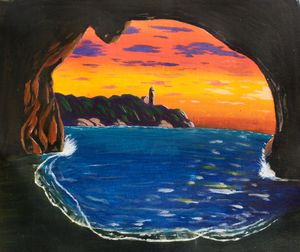 Sunset in a cave