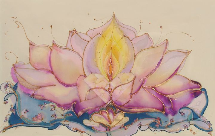 Lotus Wall Tapestry - Silk Art Creations by Jenwah