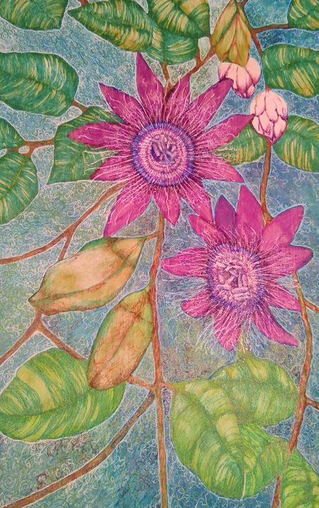 Passion flowers - Marie Hammond Art