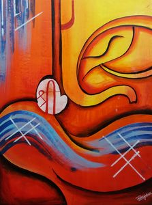 Abstract painting of Ganpati