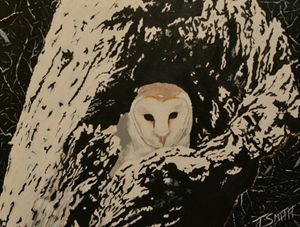 Owl in log, acrylic painting