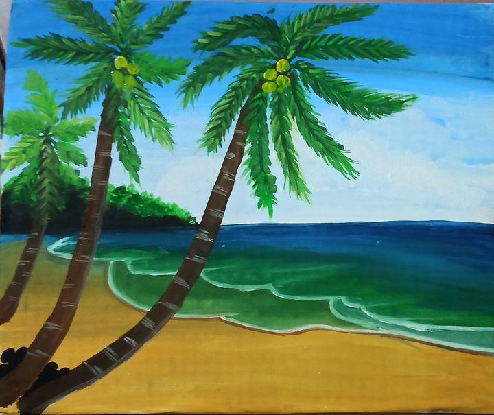 Sea beach with coconut tree - Krishna arts