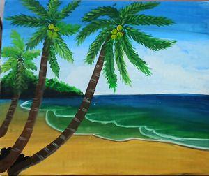 Sea beach with coconut tree