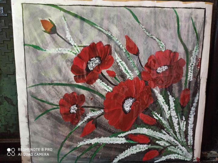 Red velvet flowers - Krishna arts