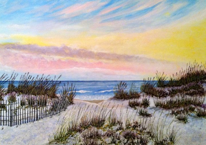 """Evening at the Beach"" original $100 - Ron Mancil Art"