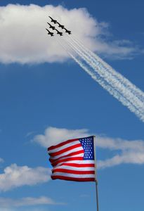 6 FA-18s flying past American Flag