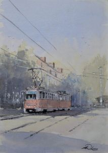""" Early start on the tram "" - Andrew Lucas"