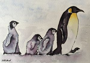 Mother with baby penguins - Kathryn Clifford