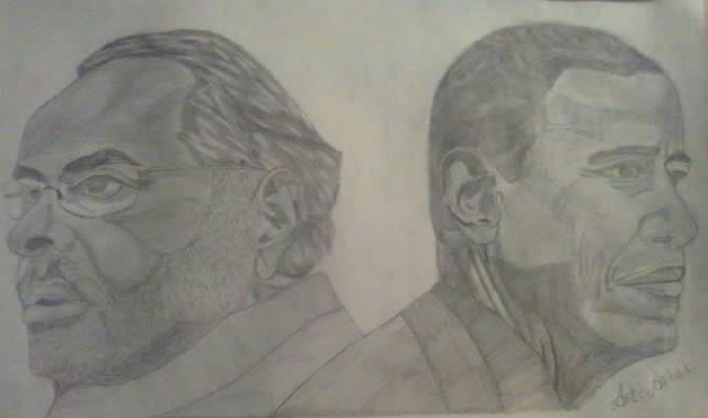 narendra modi and barack obama - ashish art gallery