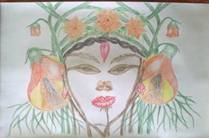DEVI DURGA's hand made painting desi