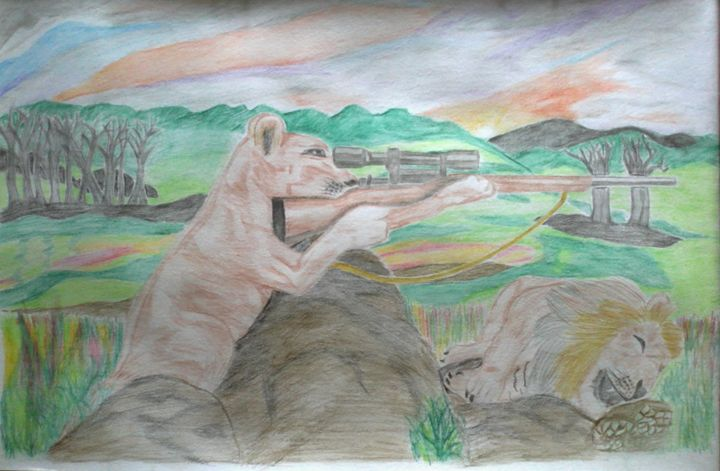 Revenge of sniper Lioness to animal  - ashish art gallery
