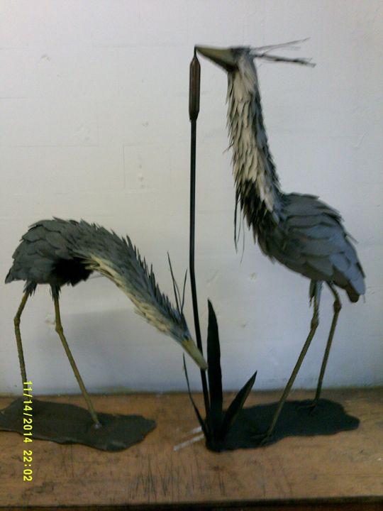 2 Grey Herons - Galloway Steel Art
