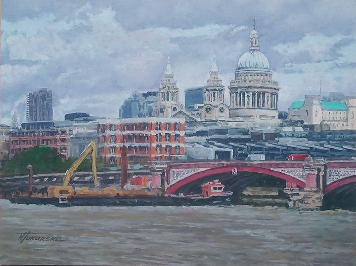 St Paul Cathedral Blackfriars Bridge - Nadiya Tokarska Fine Art