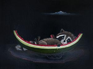 Raccoon Stuffed on Watermelon
