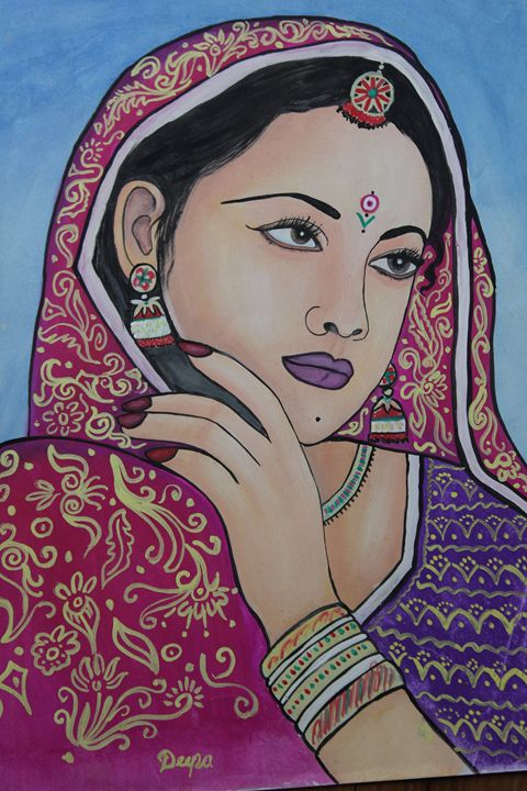 water color painting of women - deepali art