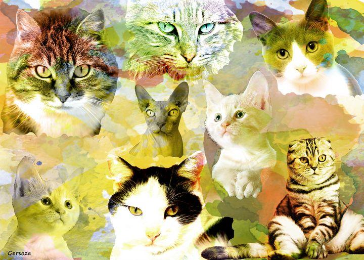 The Lovely Cats - Digital Printable Art