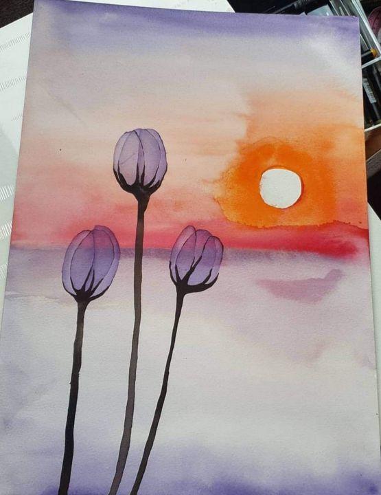 Transparent tulips purple - MalinRobertsArt