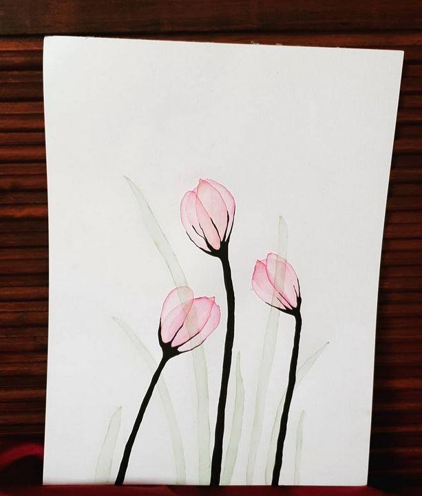 Pink transparent tulips - MalinRobertsArt